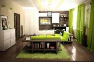 зеленый ковер в интерьере 06.10.2019 №030 -green in the interior- design-foto.ru