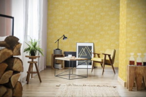обои желтого цвета в интерьере 09.10.2019 №005 -yellow in interior- design-foto.ru