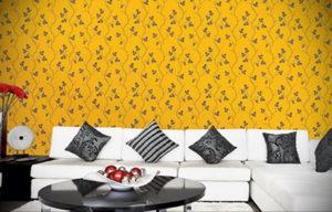 обои желтого цвета в интерьере 09.10.2019 №024 -yellow in interior- design-foto.ru