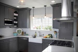 серый цвет в интерьере кухни 24.09.2019 №007 -gray interior- design-foto.ru