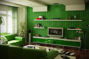 сочетание зеленого в интерьере 06.10.2019 №002 -green in the interior- design-foto.ru