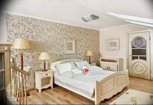 Modern art deco style bedroom interior in light beige colors